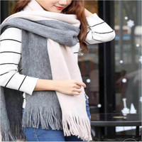 Winter new design Euro fashion acrylic striped CONTRAST COLOR women knitted infinity scarf with long tassels