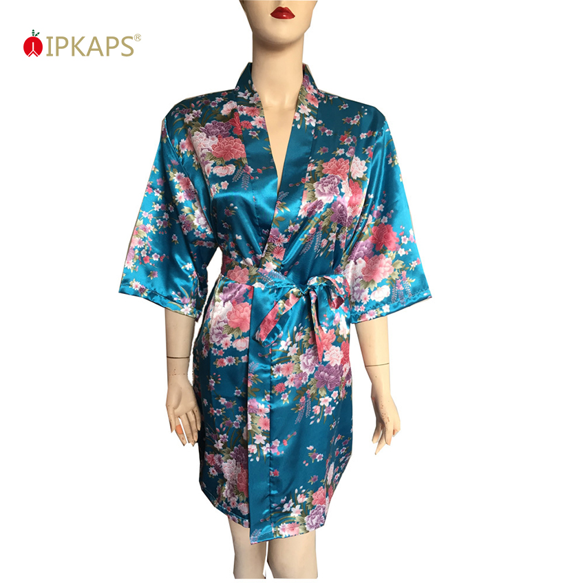557cafc705 Female Sexy Short Wedding Sleepwear Floral Print Silk Satin Dressing Gown  Kimono Bridal Particular Robe Femme