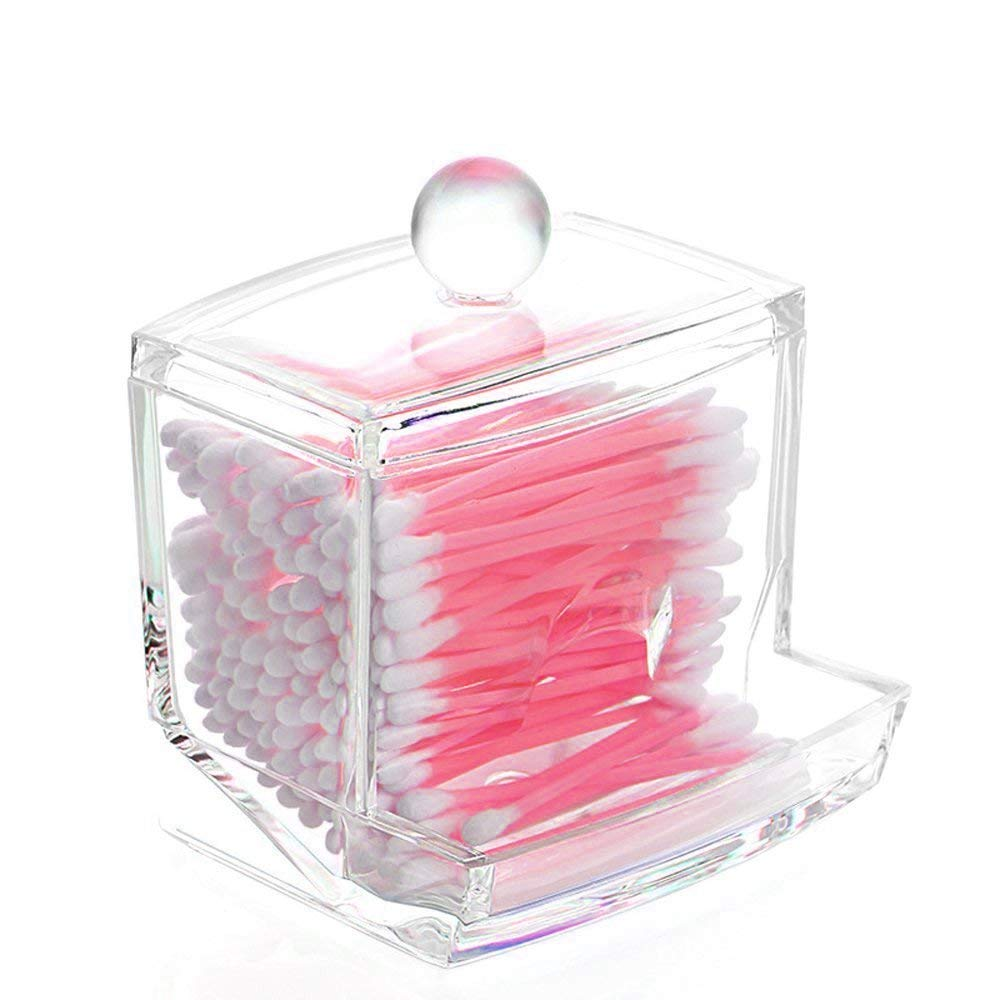 J.west Jwest Premium Quality Dust-proof Clear Acrylic Swab Storage Case, Holder Organizer For Cotton Swabs Bud, Q-Tips, Makeup Pads, Cosmetics Box with Lid - For Bathroom & Vanity