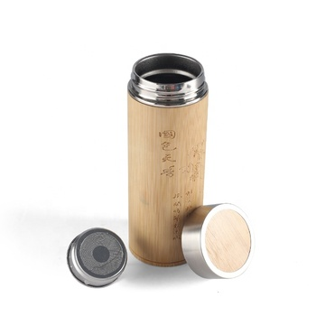 450ml double wall stainless steel bamboo thermos