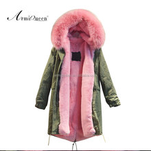 Pretty comfortable pink fur long jacket raccoon big fur collar be warm winter coats