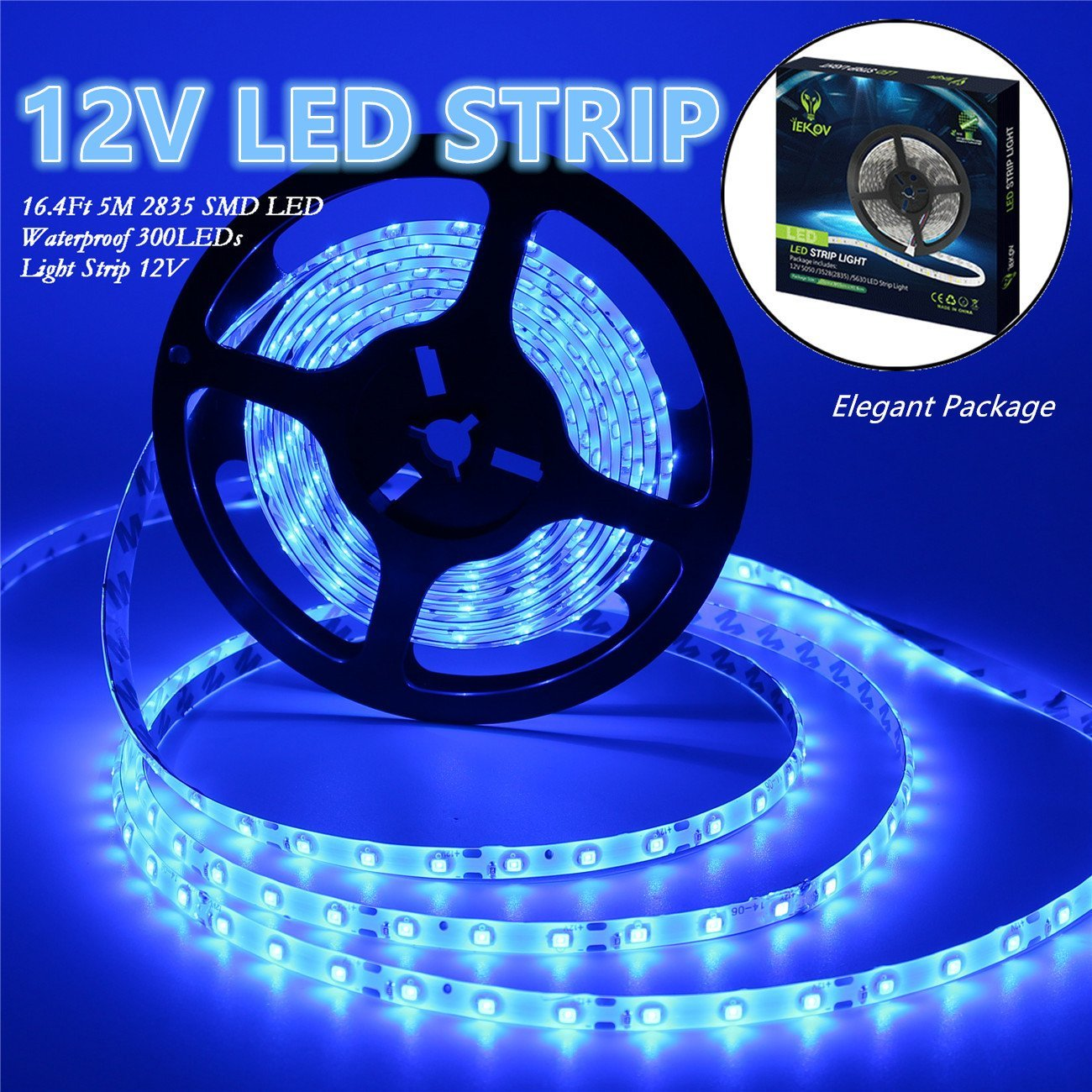 Led Strip Lights, IEKOV™ 2835 SMD 300LEDs Waterproof Flexible Xmas Decorative Lighting Strips, LED Tape, 5M 16.4Ft DC12V, 2 times brightness than SMD 3528 LED Light Strip (Blue)