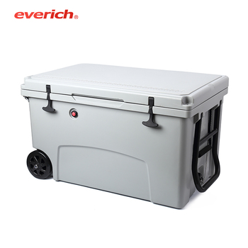 Everich Hot Sale New Products Private Plastic Ice Camping Cooler Box With Wheels