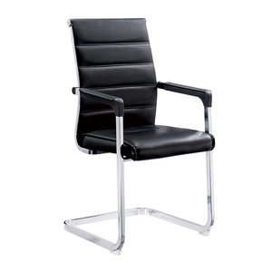 Jingtian office furniture classical middle back black leather guest vistors meeting room office chair no wheels