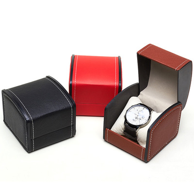 Red  PU real leather elastic flip over gift minimalist jewelry watch packaging box