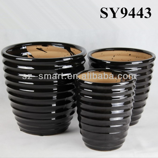 Circle carving black ceramic decoration flower pot