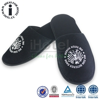 Premium Quality Black Colour Cotton Fleece Men's Indoor Slippers