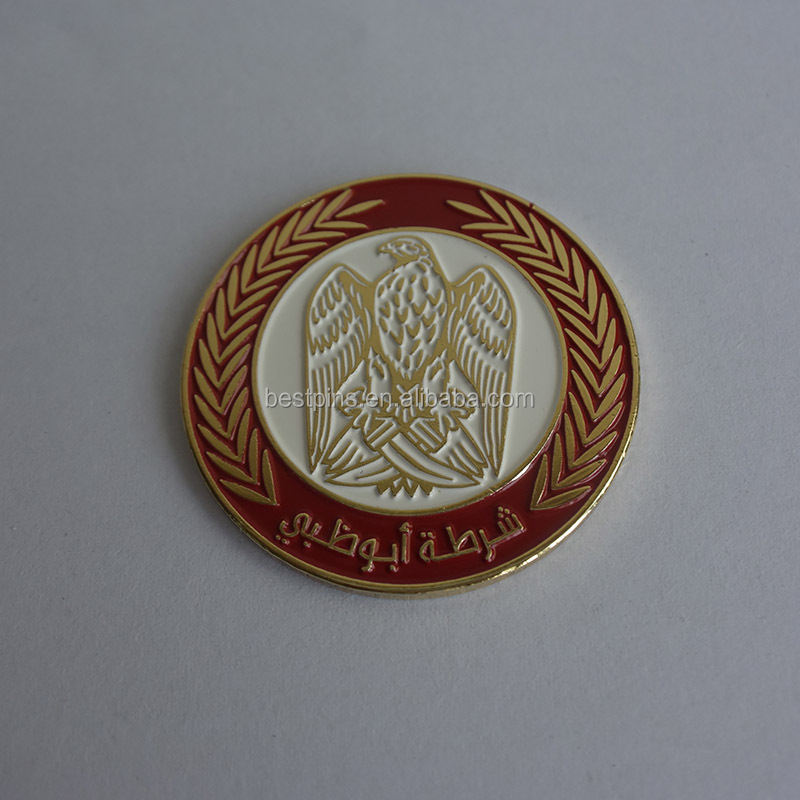 Olive Branch Edge Dubai Falcon Magnetic Lapel Pin for UAE National Day Red Gold