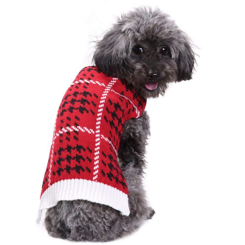 PanDaDa Lovely Pet collar high red knit sweater dog clothes Autumn Winter warm coat Acrylic Material 6 Size(XS-XXL)