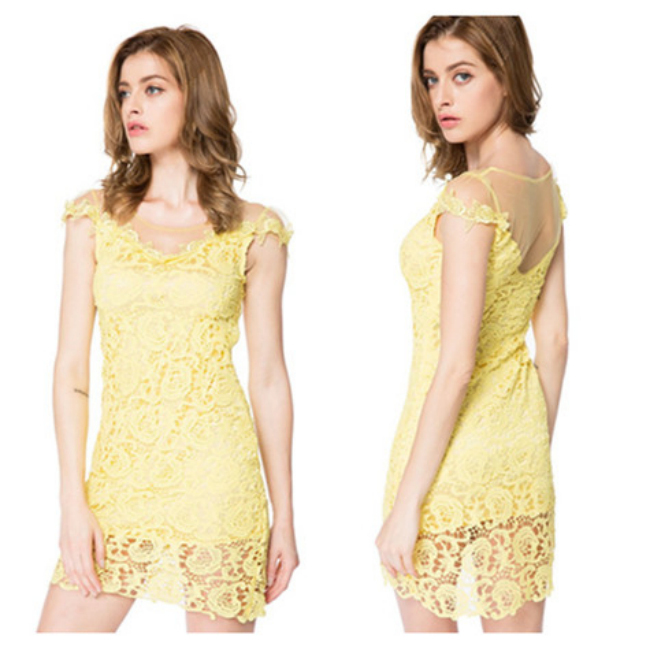 Sexy Scoop Neck Short Sleeve Mesh Splicing Lace Dress For Women Mini Cute Floral Summer Fashion Woman Dresses Clothing S10621310