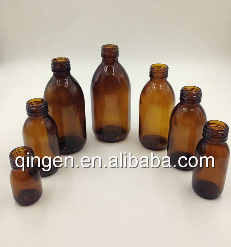 Good price empty oral liquid bottles dry cough syrup glass bottles with screw caps
