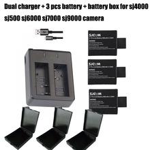 3PCS 900mAh 3.7V Original SJCAM SJ4000 Battery Lithium Batteries SJ 4000 + Dual Charger For SJ5000 Wifi SJ6000 SJ7000 SJ Cam