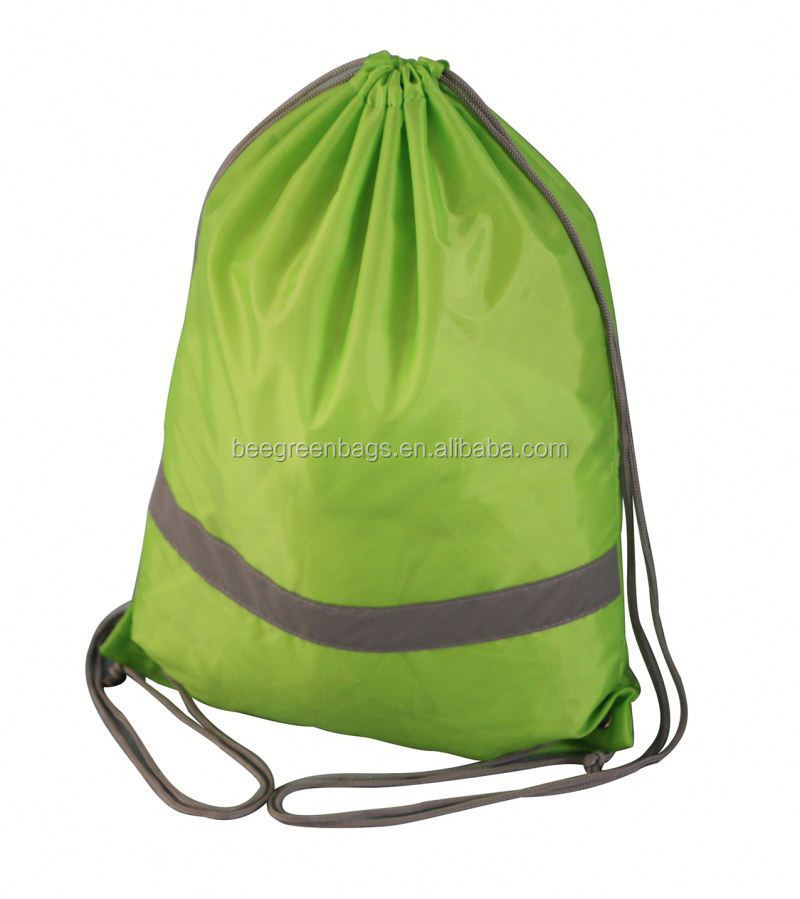 Promotional 210D Polyester reflective drawstring back pack