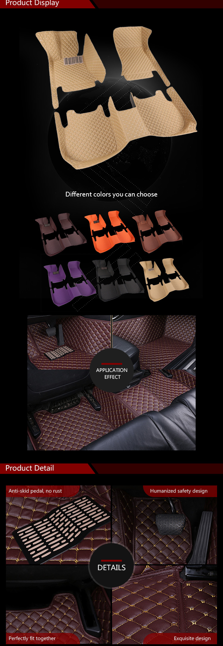 Hot Selling Washable Popular Decore Car Mats