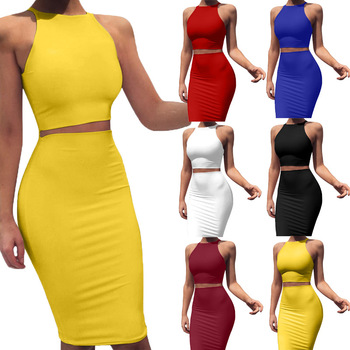 The Best 6 colors 5 yards Hot Sale European and American women dresses party wear mid-skirt Slim two-piece vest dress