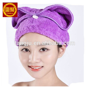 Quick Dry Microfiber hair towel,hair wrap towel with button
