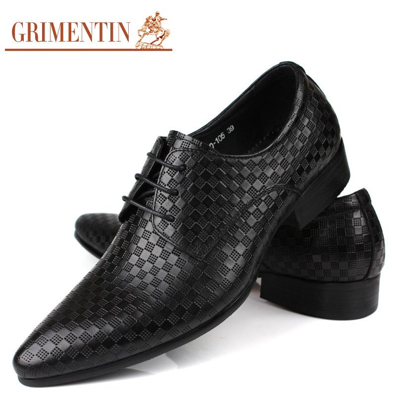 2015 Luxury Brand Men Dress Shoes Black Genuine Leather