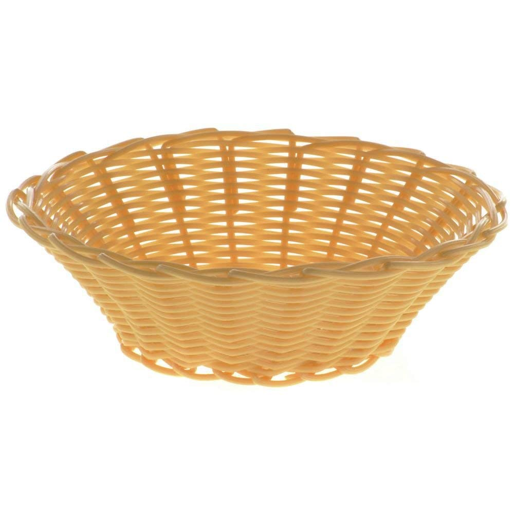 "HUBERT Bread Basket Round Natural Woven Plastic - 7"" Dia x 2"" H"