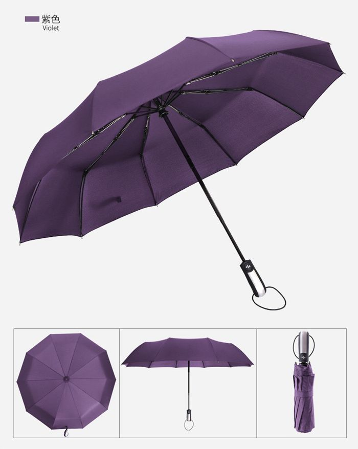 Travel Umbrella Golf Umbrella Auto Open Close,Lightweight 10 Ribs Automatic Windproof Canopy Compact with Light Reflective