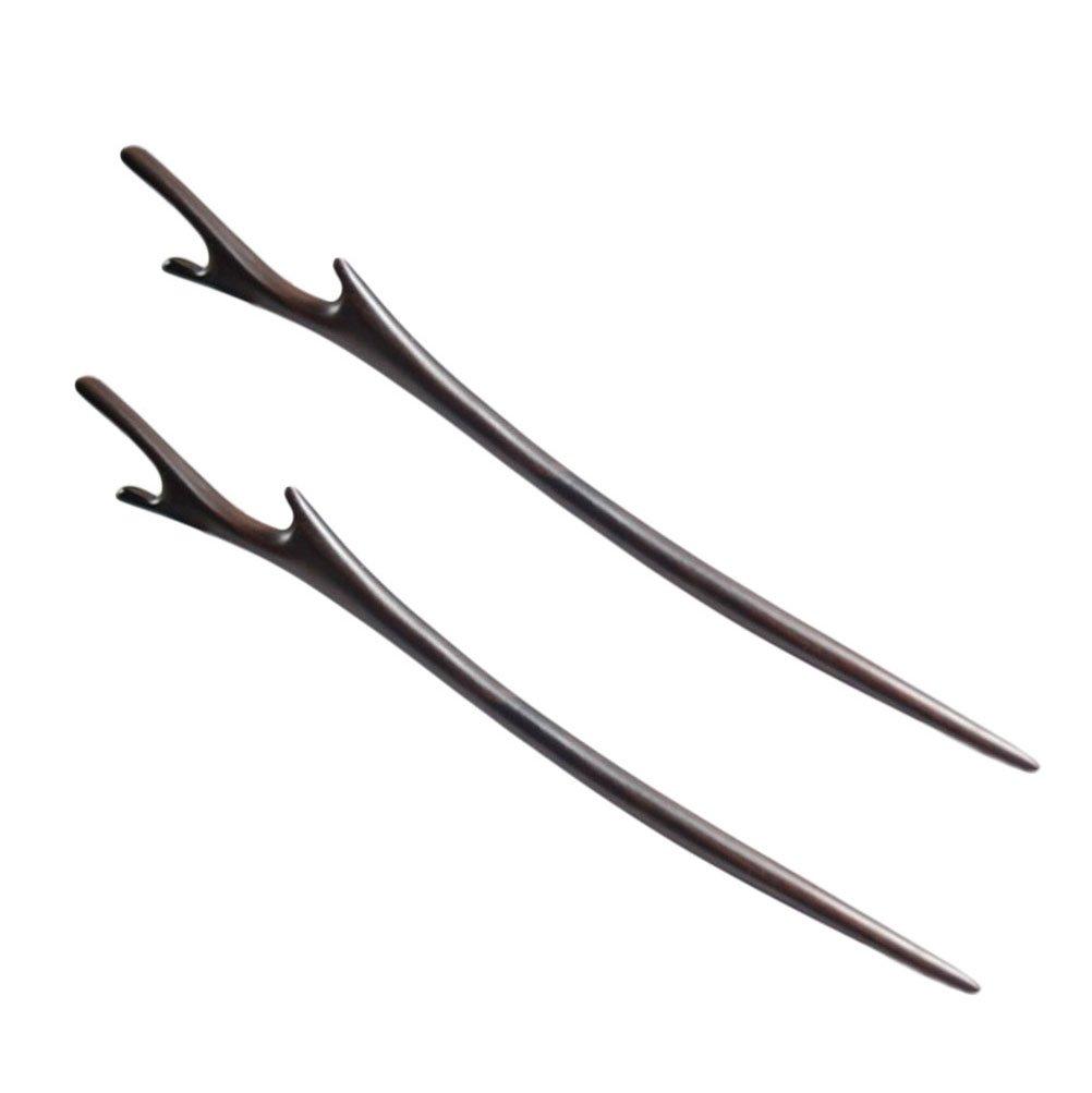 FANTAC CRAFTS 2 Pieces Ebony Black Wood Hair Stick Handmade Carved Hairpin Deer Antler Shape Hair Accessories Chignon Bun Updo Pin (2 Pieces Hair Sticks)