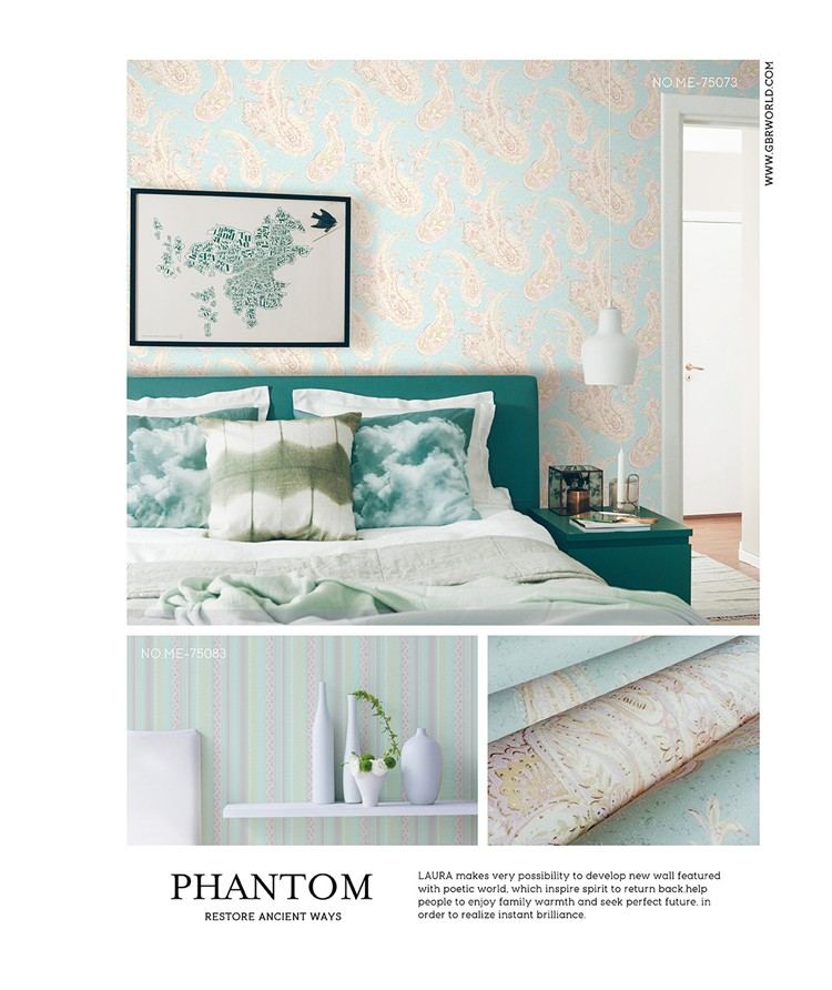 ME-75073 2016 hot selling bedroom non-woven wallpapers/imagine pattern