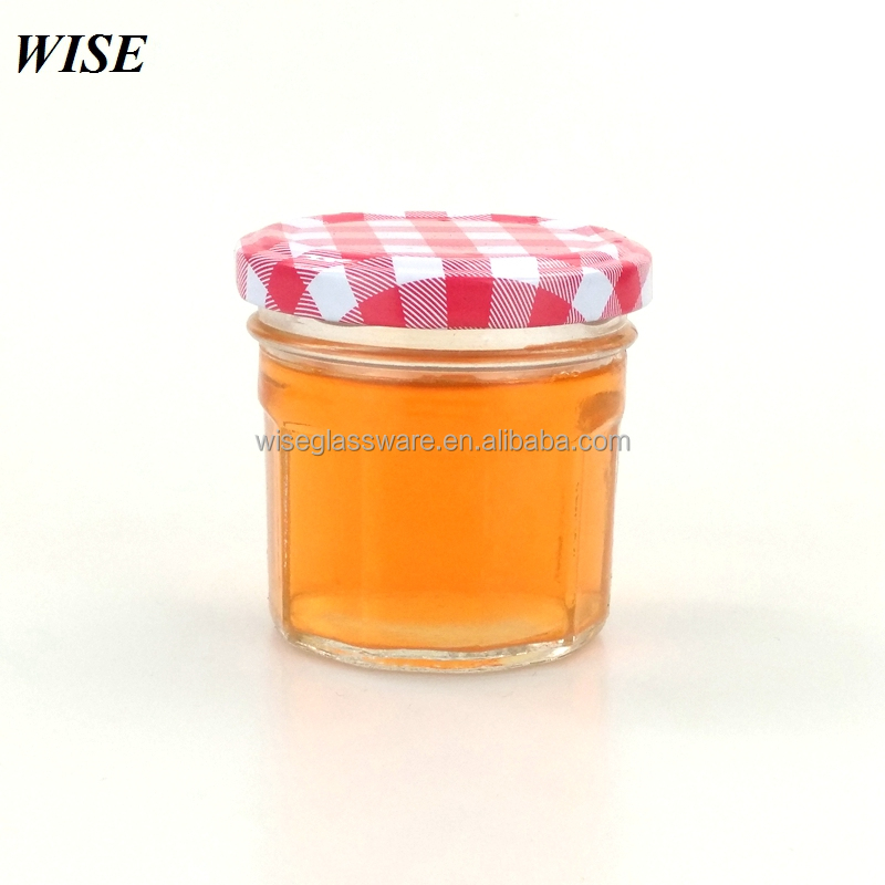 factory price cheap round 3oz glass jam jar 100ml with white and red lids