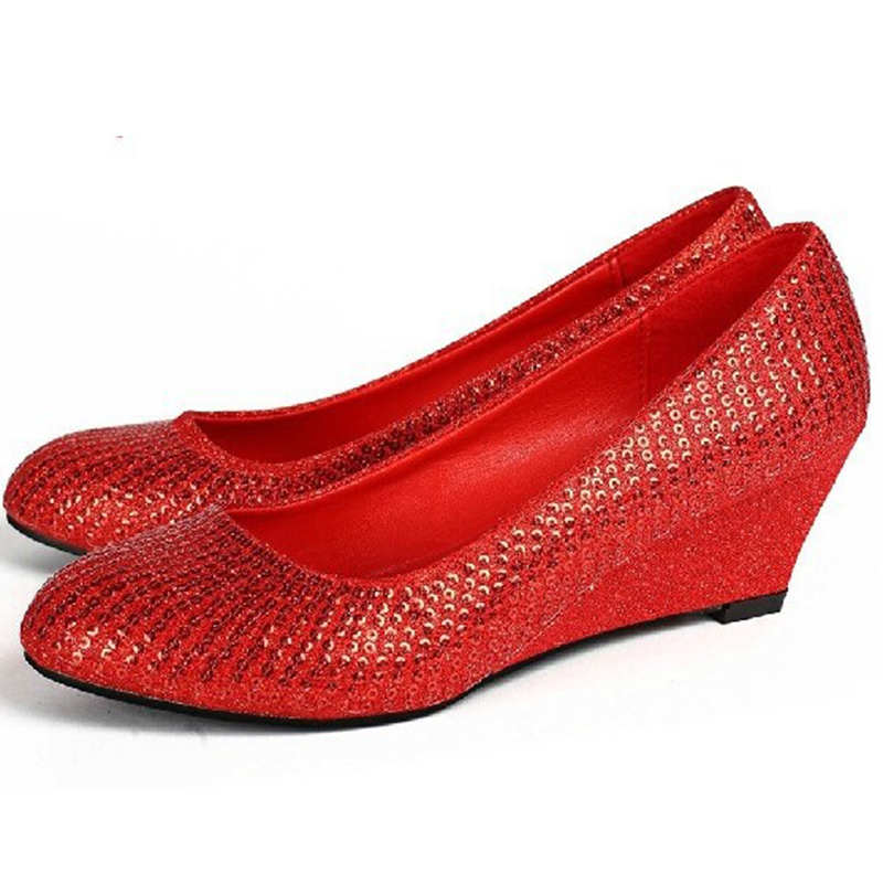 7e9ac73f1edd Buy woman wedges round toe pumps female Bridal shoes red wedding shoes  glitter sy-1169 in Cheap Price on m.alibaba.com