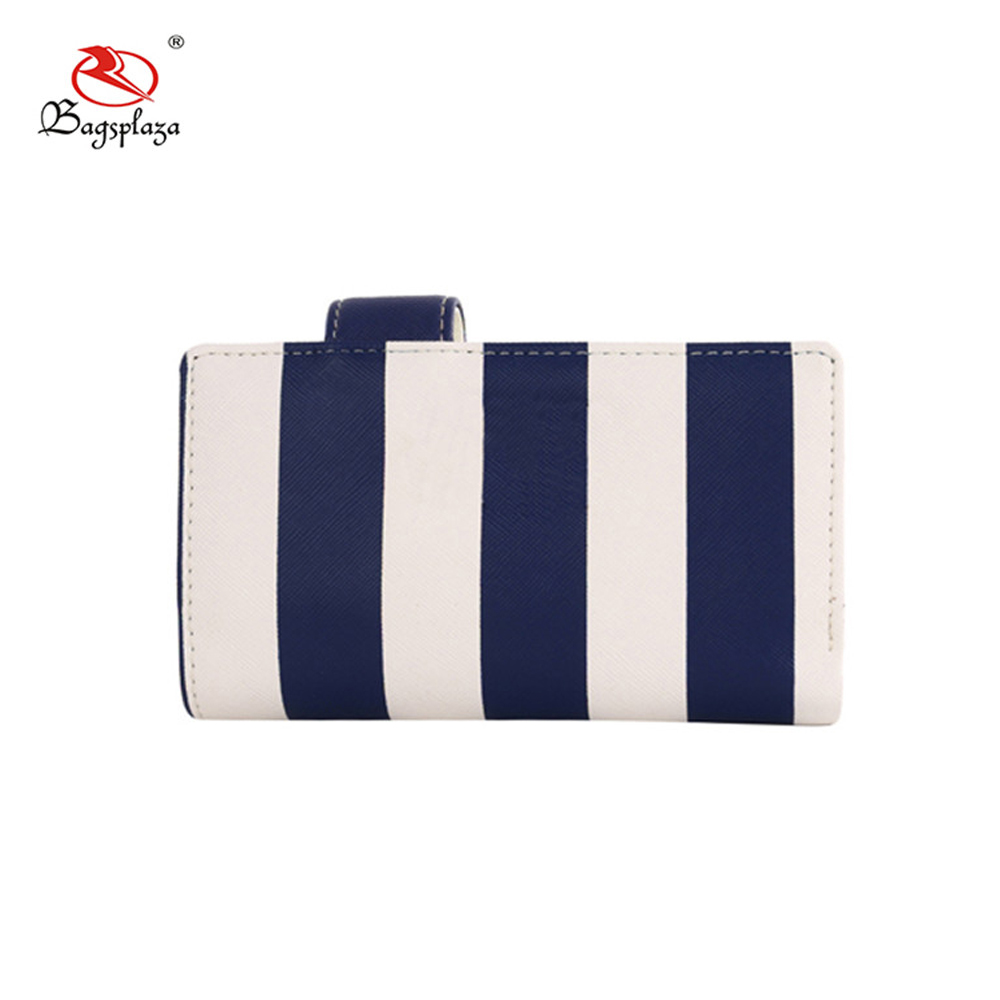 Deep blue and white stripe color wallet with pen holder women wallets