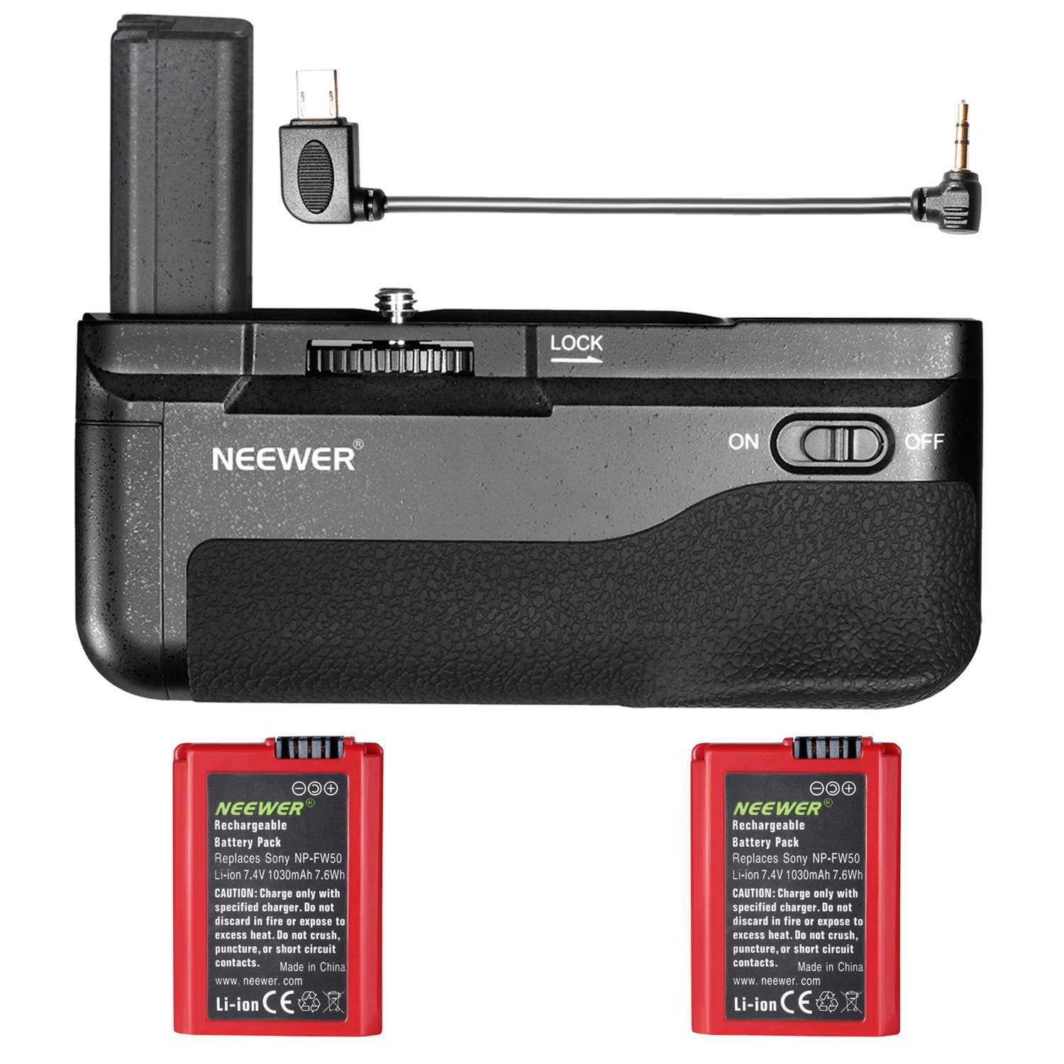 Neewer Vertical Battery Grip for Sony A6300 Mirrorless Digital Camera and 2-Pack 7.4V 1030mAh NP-FW50 Replacement Rechargeable Li-ion Battery (Red), Professional Grip with Shutter Release Button