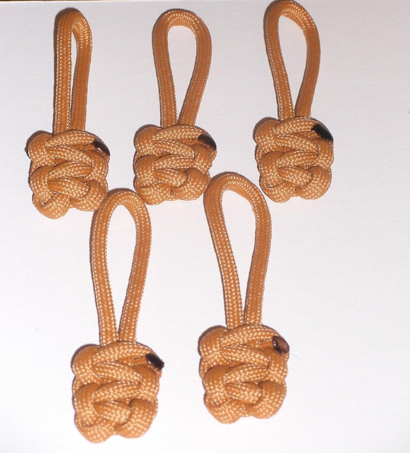 RedVex Paracord Zipper Pulls / Lanyards - Lot of 5 - ~2.5 - Marigold