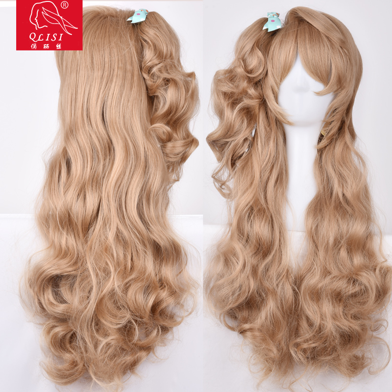 New Fashion Lolita Light Brown Gradient Long Synthetic Hair Cosplay Women Wig