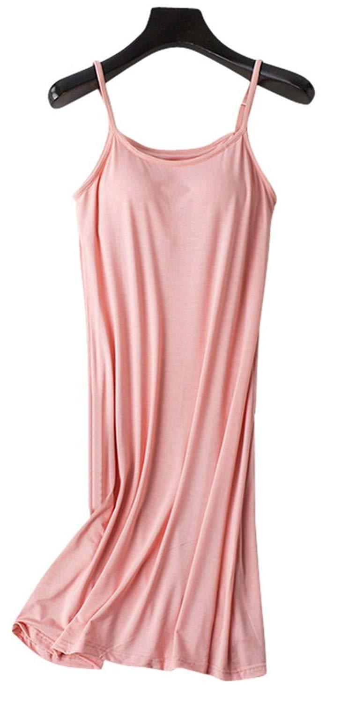 4121dc7101 Get Quotations · Vocni Sleepwear Womens Nightgown Full Slip Lounge Dress  with Built-in Shelf Bra