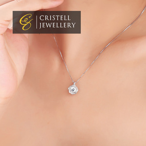 925 sterling silver rose pendant necklace jewelry with CZ AAA Zircon stones