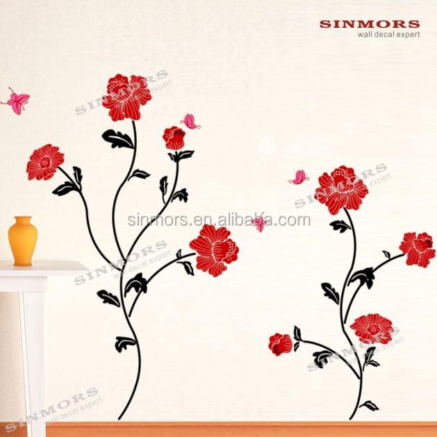 Rose Red Flowers 3d Papéis De Paredetelha Adesivo Removível