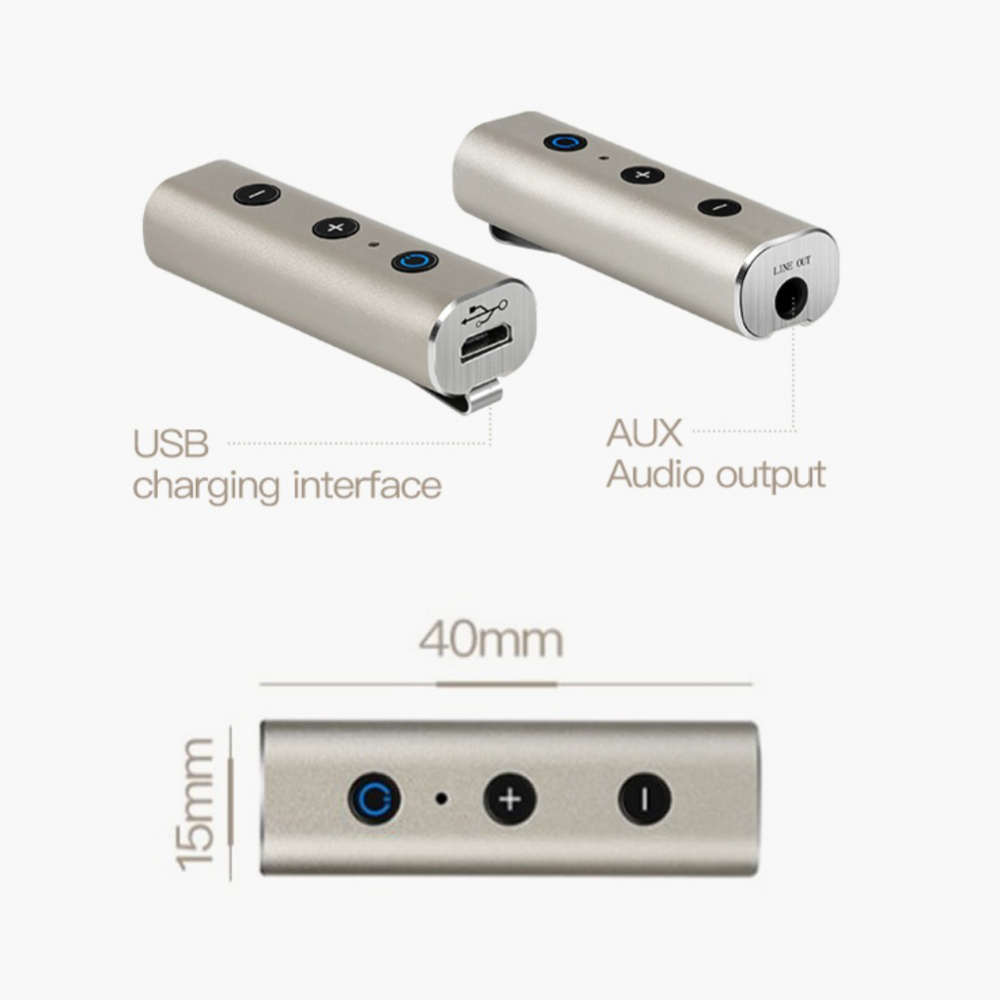 Amazon Bestseller Metalen AUX 3.5mm Auto Bluetooth Handsfree Stereo Draadloze Bluetooth Audio Muziek Ontvanger