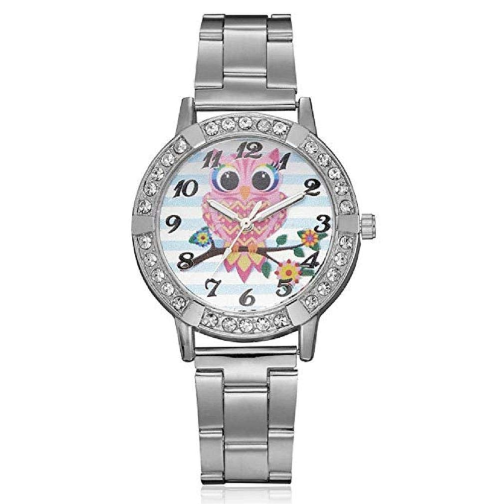 Womens Quartz Watches, Windoson Fashion Ladies Dress Watches Fanmis Luxury Rhinestone Bracelet Quartz Rose Gold Stainless Steel Watch, Elegant Lady Watches Female Watches (Silver)