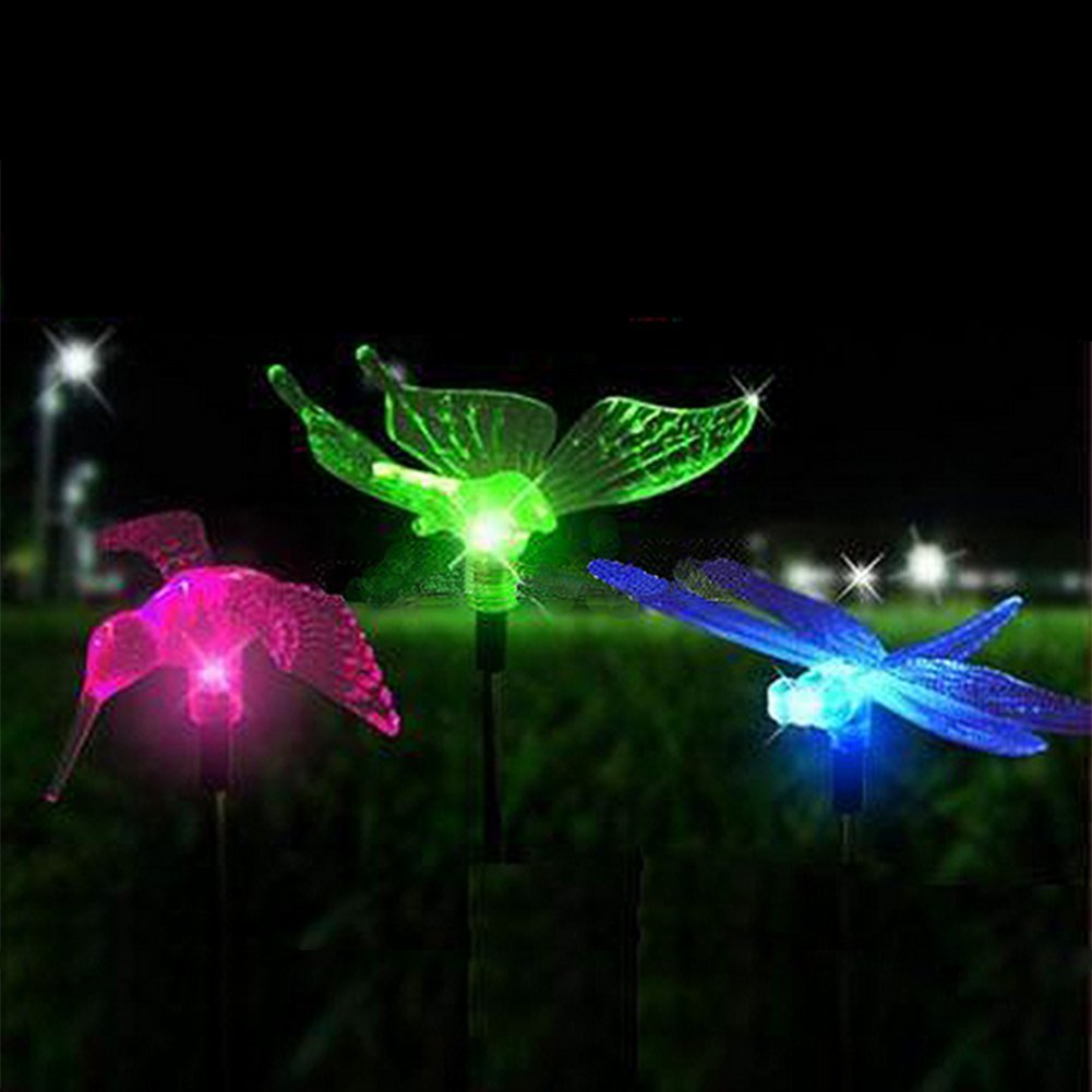 Outdoor Solar LED Lights ,Butterfly, Dragonfly, Bird,Colorful Garden Lights,  Funny