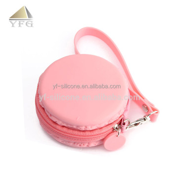 Lovely macaroon custom silicone coin bag,silicone rubber wallet