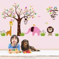 2015ebay hot selling animal forest kids wall sticker 3D Removable pvc wall sticker decals cartoon forest animals tree home decor