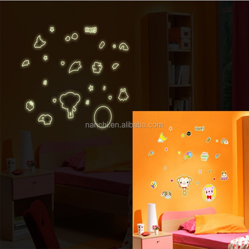luminous fluorescent Moon Monkey Bear Rainbow Happy Wall Art Removable PVC Wall Stickers Home Decoration
