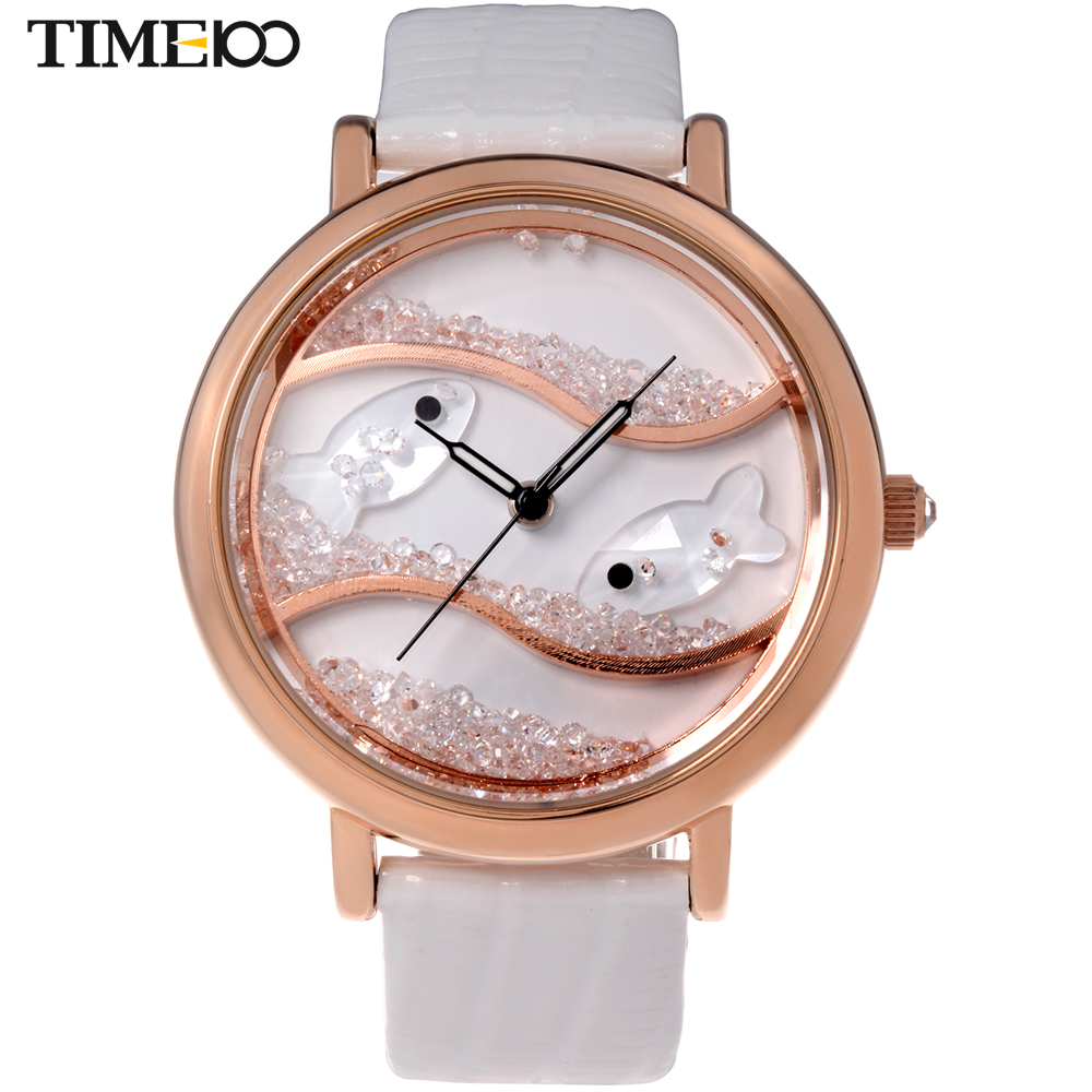 Armband- & Taschenuhren Armbanduhren White Ladies Leather Fashion Watch With Flower Face