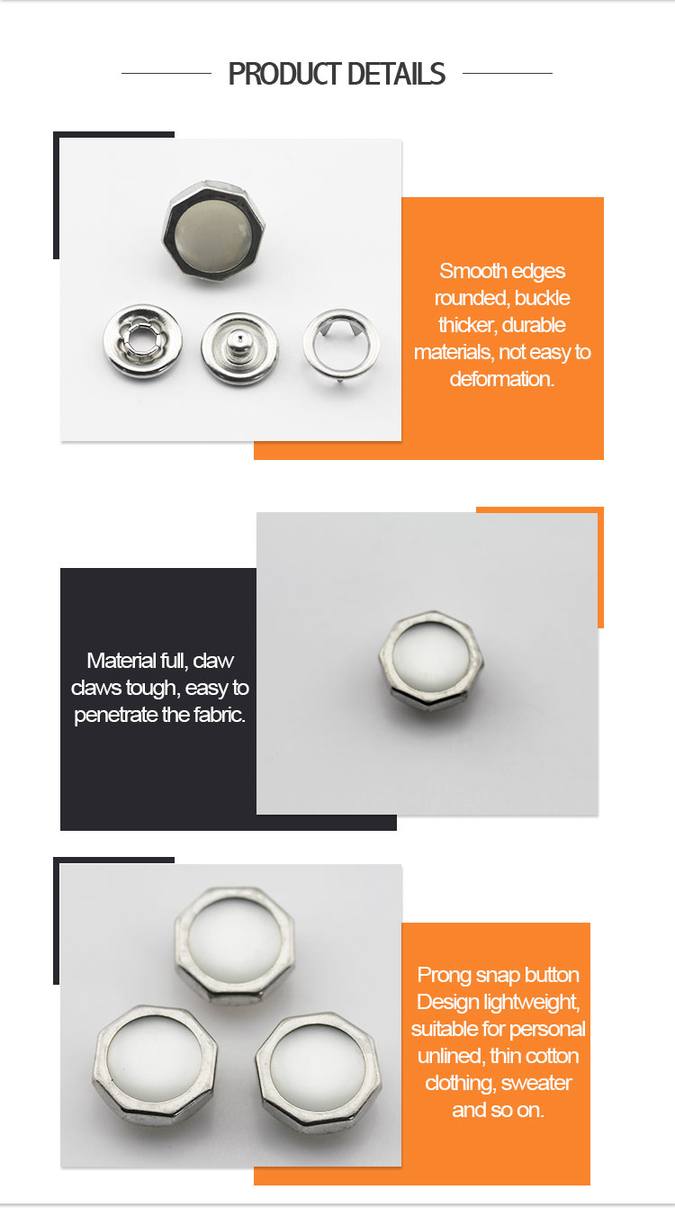 Fashionable custom logo metal cap prong ring snap clip buttons