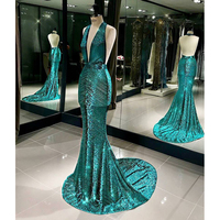 Embellished V-neck Gown Mermaid Green Long Evening Dress Halter Ladies Formal Wear Dress 2018 Cannes Film Festival