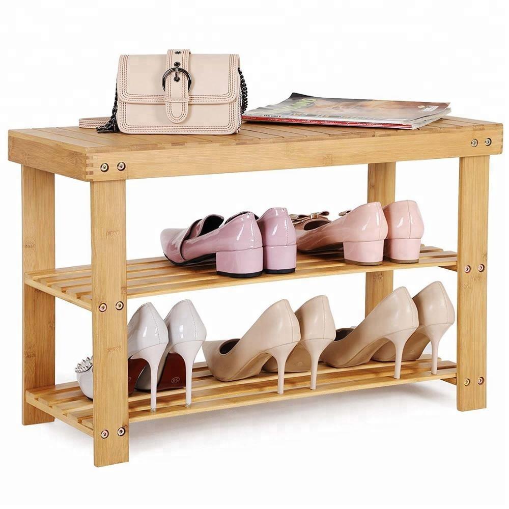 Porte Chaussures En Bois porte-chaussures en bambou À 3 niveaux banc chaussure organisateur - buy  Étagère À chaussures,organisateur de chaussures,Étagère de rangement  product