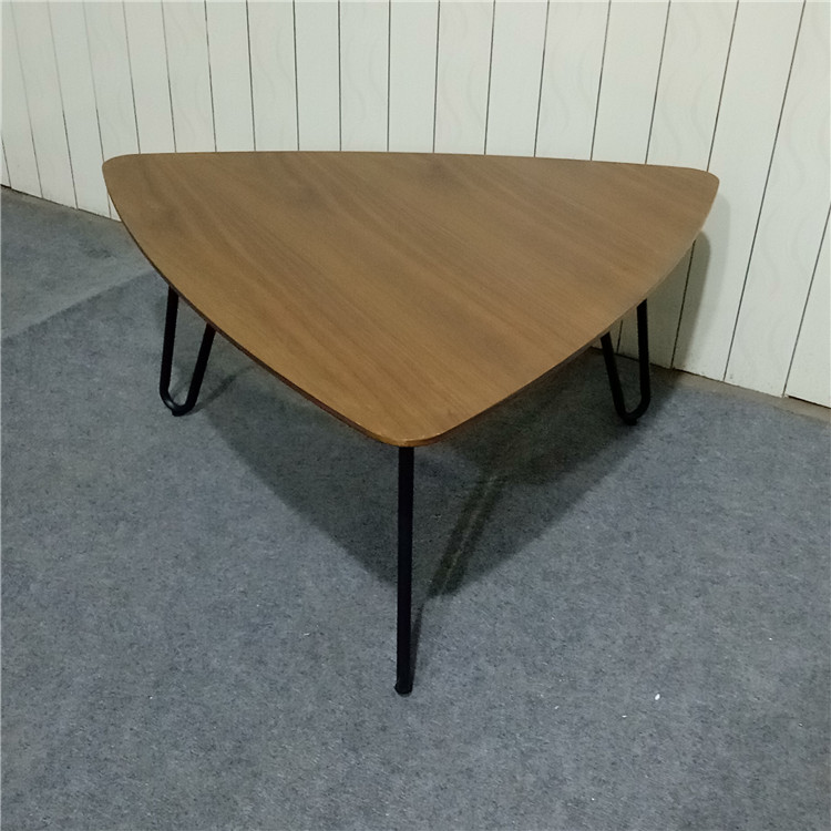 new product Walnut wood veneering MDF board coffee table with powder coating metal frame