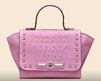 2015 alibaba China new product rivet smiling face shoes and handbag set
