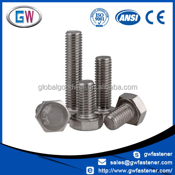 Full thread half thread unc unf stainless steel a4 70 hex bolt 316