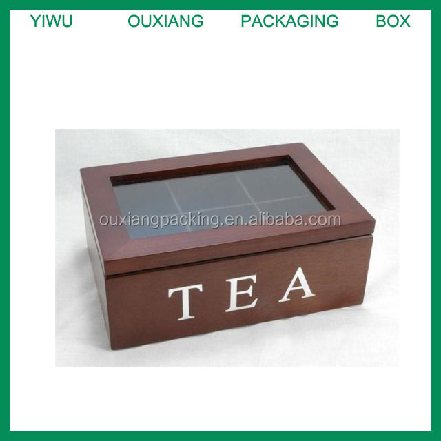 Old Fashioned Wooden Tea Chest Box with Glass Lid 6 Compart Storage