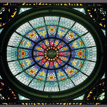 Round stained glass skylight tempered laminated glass