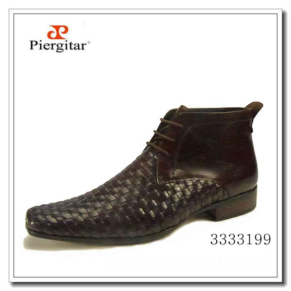 Men Leather Ankle Boots Black Woven Dress Footwear